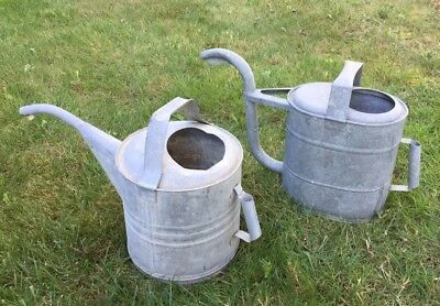 TWO Vintage Galvanized Watering Cans Large Auto Spout