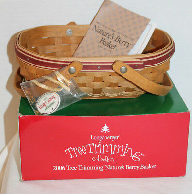 2006 Longaberger Nature's Berry Basket,tie-On, Card, Box, Red