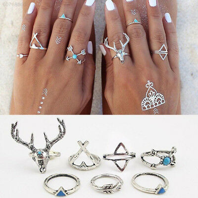 FE58 Alloy Ringset Bohemian Body Jewelry Accessories Women Silver Finger Ring