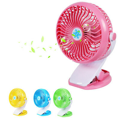 Portable Mini Table Fan USB Power Clip On Desk Cooling For Baby Stroller Car 4W