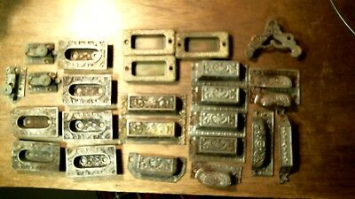 Antique  Drawer Pulls Handles 27 asst Cast Iron Brass stamped latches etc