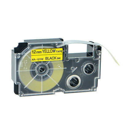 """1PK XR-12YW Black on Yellow Label Tape for Casio KL-60 100 7000 8200 8800 1/2"""""""
