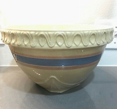 "Vintage McCoy Pottery Yellow Ware Mixing Bowl Pie Crust Edge 11 1/2"" Pink & Blue"