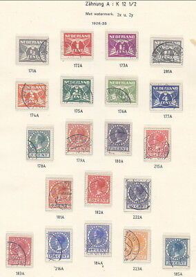 Netherlands 1926 definitives, with Wmk, on 2 album pages (80-235)