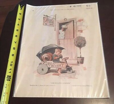 """1915 Cream Of Wheat """"The Filling Station"""" Edward Brewer Vintage Paper Print Ad"""