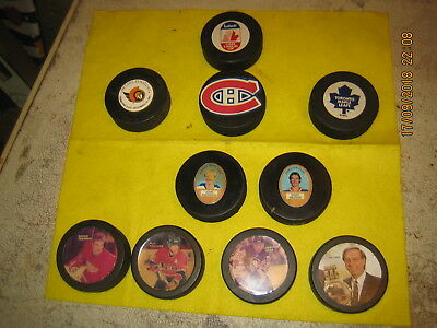 Vintage Hockey Pucks 10 With Logos Of Old Players And Nhl League