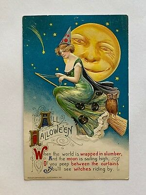 Antique John Winsch 1911 Victorian Halloween Postcard Flying Witch Owl Moon