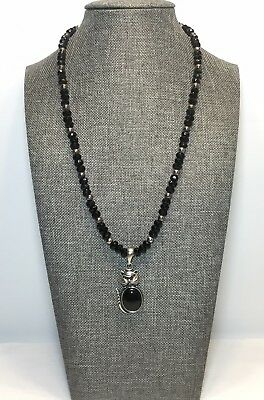 Vintage Sterling Silver Mexico Black Glass Faceted Beads Necklace Cat Pendant