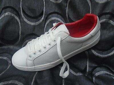 Uk Size 8, Eu 42 Mens Zara Man White/red Leather Lace Up Black Lace Up Trainers