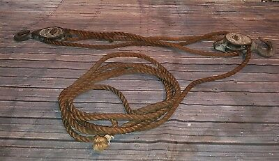 Old Vintage Industrial Ansell Metal Twin Double Single Rope  Pulley Set Upcycle