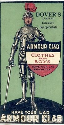 """Dover's Limited Cornwall's Boy Specialist """"Clothes for Boys"""" Blotter 1920's U.K."""