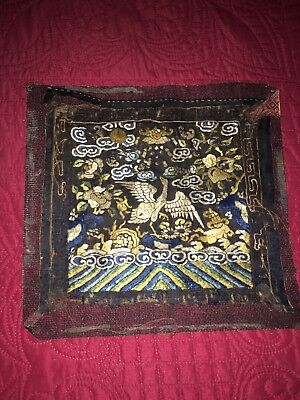 Antique C1890 Chinese Rank Badge Colored + Gold Embroidery With Bird