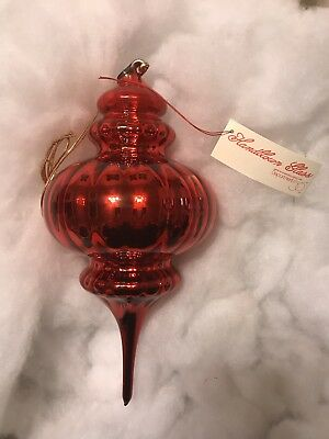 Dept 56 Optic Mercury Glass RedFinial Ornament Large Christmas