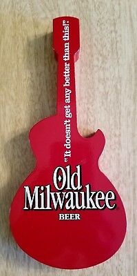 Vintage Wood Old Milwaukee Red Guitar 8 Inch Beer Tap Handle Rare Collectible