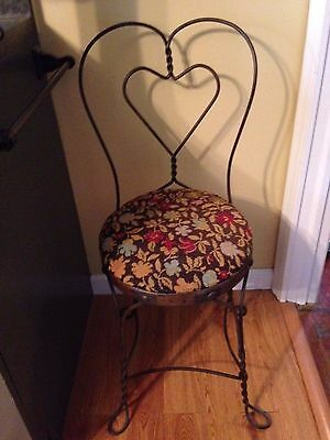 Vintage Ice Cream Parlor Sweetheart Chair Twisted Wrought Iron Needlepoint Seat