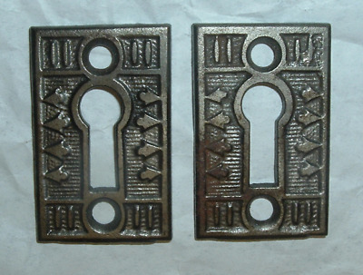 2 Eastlake 1880s Fleur de Lis Escutcheon CAST IRON KEYHOLE COVERS *FREE SHIPPING