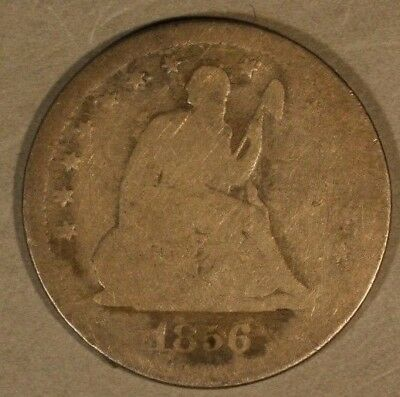 1856 S US Seated Liberty Quarter Circulated Scratches   ** Free U.S. Shipping **