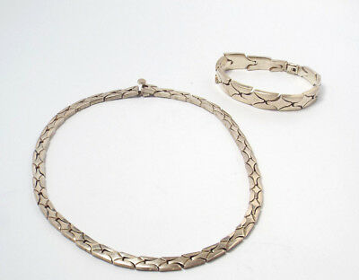 Vintage Taxco Mexico Modernist Sterling Silver Heavy Link Necklace & Bracelet
