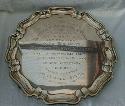 Antique Solid Silver Conservative club Commemorative Platter Tray WW1 Captain