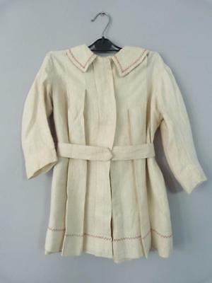 Antique Edwardian child's coat in embroidered linen - great for a large doll