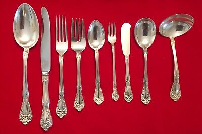 Alvin Chateau Rose  Sterling Silver Dinner Set 88 Pieces