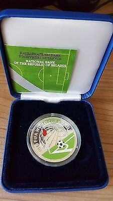 Belarus 10 Roubles 2013 Football World Cup Brazil Silver.