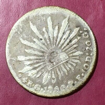 Mexico Zacatecas 2 Reales 1850 Zs Vl Silver Cap & Rays