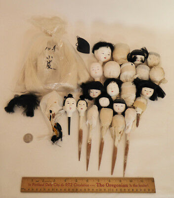 LARGE LOT of Vintage Japanese Gofun Doll Heads, Lot of 23