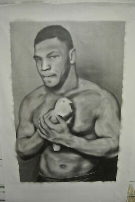 """Mike Tyson Oil Painting on canvas by Joe BLAH….32"""" x 50"""""""
