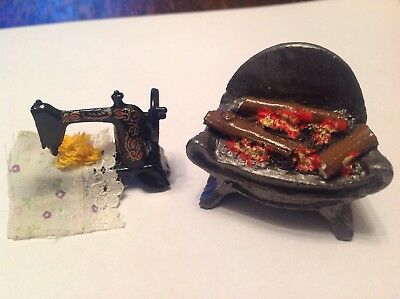 Fire And Sewing Machine For A Dolls House