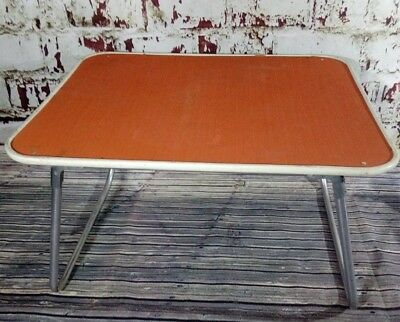 Vintage Retro Folding Portable Orange Lap Tray Table VW Camping Picnic 1950S 60S