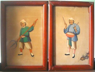 Pair of 19th Cent Chinese Pith Paper Paintings - Drummer & An Armed Warrior