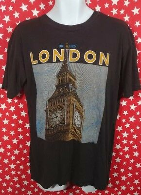 Vtg London Mens graphic t shirt Big Ben Clock Medium/Large 90s paper thin