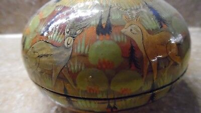 Vintage Hand Painted Folk Art Paper Mache Bowl Deer/Beaver Motif