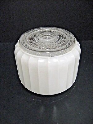 Vintage Mid Century Retro Clear White Frosted Globe for Ceiling Light Fixture