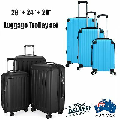 3PCS Luggage Suitcase Trolley Set TSA Lock Travel ABS+PC Hard Case Lightweig FRE