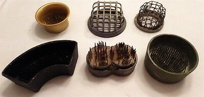 Lot of 6 Vintage Flower Frogs Antique Metal Cage Floral Spikes Arrangement