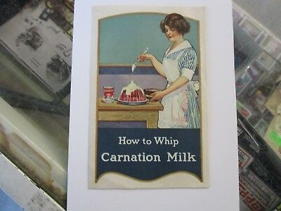 Early VINTAGE CARNATION MILK ADVERTISING PAMPHLET- HOW TO WHIP CARNATION MILK