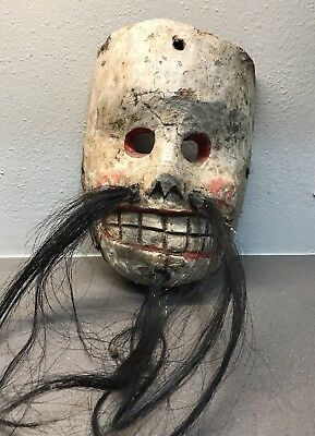 Vintage Ceremonial Dance Mask Guerrero Mexico Hand Carved Folk Art Rare