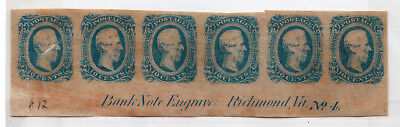 Genuine US Confederate CSA#12a strip of 6 stamps Archer bank note Va #4 ID#803
