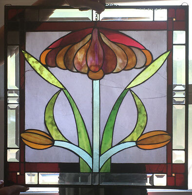 Antique Stained Glass Art Nouveau Floral Window Vtg