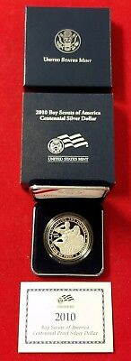 2010-P Boy Scouts of America Proof Commemorative Silver Dollar W/ COA & OGP