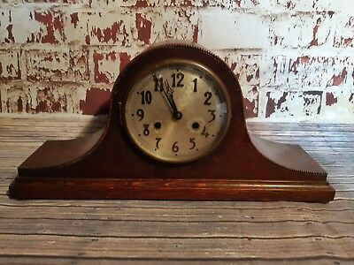 Old Antique Wooden Chiming Pendulum Winding Clock Mantle Desk Wind Up