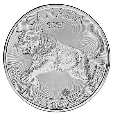 Lot of 100 - 2016 Canadian 1oz Silver Cougar $5 Coin .9999 Fine BU