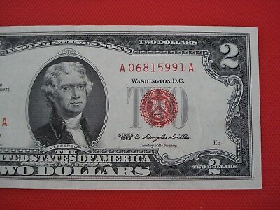 Wow! 1963 $2 TWO DOLLAR BILL RED SEAL ,UNCIRCULATED