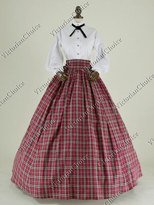 Victorian Country Christmas Dickens Caroler Plaid Dress Gown Stage Wear 314 XL