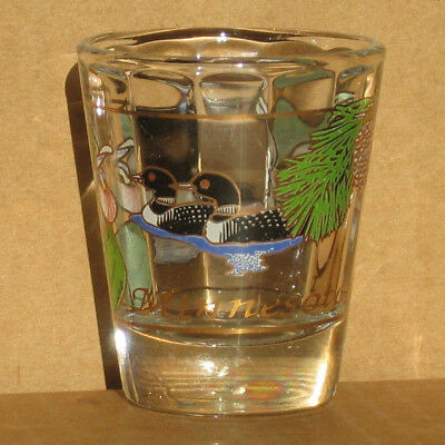 Minnesota shot glass new vintage collectible common loons shaped glass