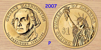 2007 P&D George Washington Presidential Dollar Coin Lot Brilliant & Uncirculated