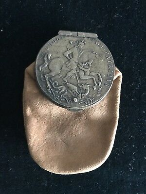 Unusual Hungary 1700s St. George Ducat turned into clasp leather bag (185169)