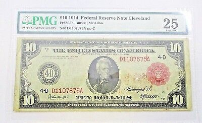 Rare 1914 Federal Reserve Note $10 Dollar Cleveland Burke / McAdoo PMG 25